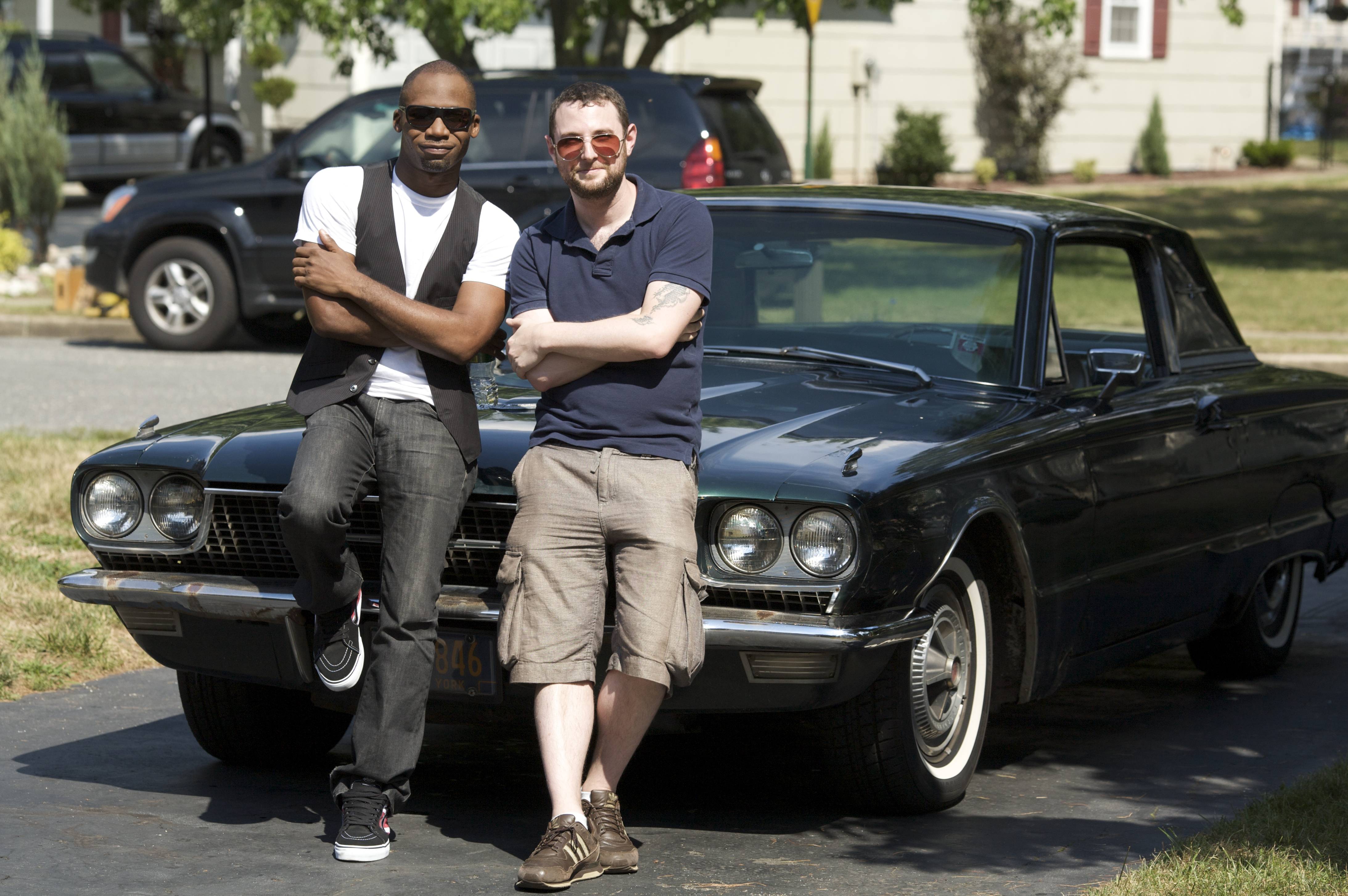 Adam Reid and Dave Williams, masters of the car pose.